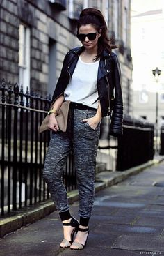 casual & comfy harem pants paired with heals and a leather jacket is my favourite look right now