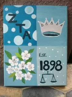 "This can be painted over the summer! Buy a canvas from your local crafting store and just replace the ZTA symbols with our own. ΦΜ, a quatrefoil, carnations, ""Love Honor Truth,"" Est. 1852, cute sisterhood quotes, the possibilities are endless!"