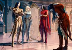 "Cell-shaded illustration of the scene between the High Lord, the Consort, Lord Evarrim and Lord Ynpharion from Chapter 21 of Cast in Flame by Michelle Sagara. The title of the painting is ""The buil..."