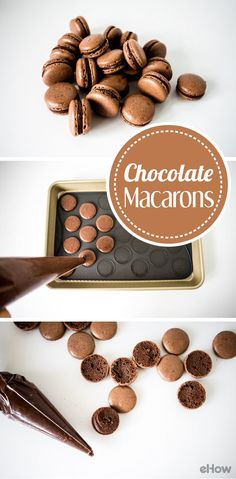The easiest chocolate macaron recipe out there! Two crisp, sweet and chewy chocolate and almond meringue shells are filled with an easy and rich dark chocolate ganache. Not challenging or time-consuming, this is a foolproof classic French macaron recipe t Chocolate Macaron Recipe, Chocolate Macaroons, Chocolate Ganache, Chocolate Recipes, Chocolate Roulade, Chocolate Smoothies, Chocolate Shakeology, Easy Macaron Recipe, Chocolate Crinkles