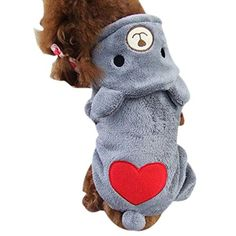 Charberry Pet Dog Warm Clothes Puppy Jumpsuit Hoodie Doggy Heart M Gray -- Read more  at the image link.Note:It is affiliate link to Amazon.