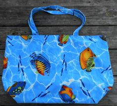 Shopping Tote Large-Eco Friendly-Grocery Bag-Diaper Bag-Beach Bag-Carry On-Library Tote-Craft Bag-Market Bag-Reusable-Washable-Tropical Fish by sewlittletime2009 on Etsy