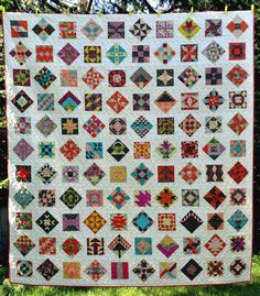 Farmer's Wife quilt by Heather at Winding Bobbins.  Chicopee fabric by Denyse Schmidt.  Bloggers Quilt Festival - Spring 2015.