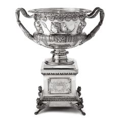 A Monumental Victorian Silver Warwick Vase on a Stand, Charles Boyton, London, 1889 | lot | Sotheby's