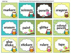 Labels or tags (Owl theme) classroom decoration