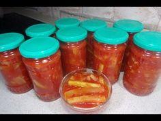 """Reteta Mancare de dovlecei pentru iarna - """" Limba soacrei"""" - YouTube Canning Pickles, Sauces, Salsa, Jar, Drinks, Kitchen, Food, Agriculture, Preserves"""