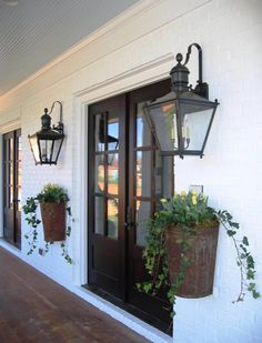 Old New Orleans Entryway Planters & Lanterns 47 Rustic Farmhouse Porch Decorating Ideas to Show Off This Season Modern Farmhouse Design, Modern Farmhouse Exterior, Farmhouse Chic, Vintage Farmhouse, Modern Rustic, Farmhouse Ideas, Farmhouse Landscaping, Fresh Farmhouse, Modern Decor