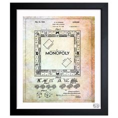 A+nostalgic+touch+for+your+living+room+or+den,+this+handsome+print+showcases+a+patent+drawing+reproduction+and+sleek+black+frame.  +