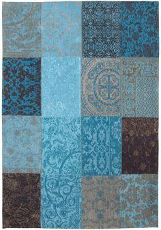 Vintage-Teppich türkis beige braun Patchwork