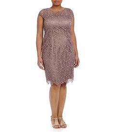 Adrianna Papell Plus Illusion Lace Dress