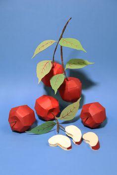 dianabeltranherrera - Home Paper Fruit, Red Paper, Fruit Art, Paper Paper, Kirigami, 3d Paper Crafts, Cardboard Crafts, Red Crafts, 3d Paper Art