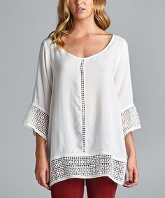 Another great find on #zulily! White Crochet-Accent Scoop Neck Top #zulilyfinds