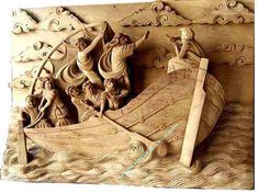 """""""Ship in the Sea"""" the wood used is Suar"""