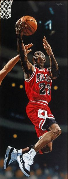"17x39"" oil on board painting of Michael Jordan by famed sports painter Arthur K. Miller 