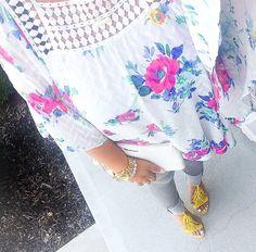 Floral Kimono + Grey Jeans + Yellow Fringe Heels