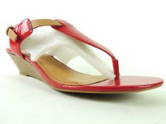 Nine West Women's Shoes HELM Red/Natural Wedge Thong Sandals Size 9.5 MSRP $49