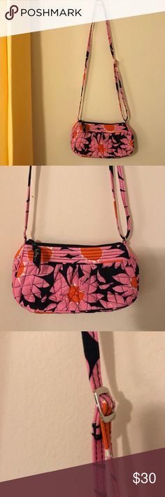 VERA BRADLEY: 'Loves Me' Print Mini Bag Vera Bradley designs always find a way to brighten the day.  With shades of baby pink, blue and orange, this purse gives off positive vibes and energy in the popular 'Love Me' pattern. Vera Bradley Bags Shoulder Bags