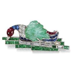 Cartier Duck on a Lake Brooch Emerald, Sapphire, Ruby, Diamonds, & Platinum Late 1920's.