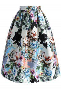 Floral Explosion Printed Midi Skirt