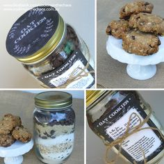 Cookies in a Jar - Including FREE printables - Cooking in the Chaos Sweet Recipes, Healthy Recipes, Dessert Spoons, Cookies, Cookie Jars, Tray Bakes, Healthy Eating, Vegetarian, Baking