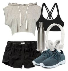"""Cora Inspired Work Out Outfit"" by veterization ❤ liked on Polyvore featuring Forever 21, Boohoo, Patagonia, Abercrombie & Fitch, Beats by Dr. Dre, NIKE, Silver Lining, women's clothing, women and female"
