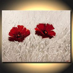 Canvas Art, Modern Wall Art, Stretched, Embellished & Ready-to-Hang Print - Soulmates - Art by Osnat Wow Art, Red Flowers, Red Poppies, Landscape Paintings, Art Paintings, Floral Paintings, Decorative Paintings, Abstract Landscape, Acrylic Art