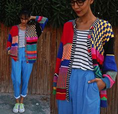 Vintage Mix Print Sweater, Striped Slouchy Tank, Vintage Striped High Waist Trousers, Thrifted  White Sneakers