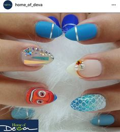 Ugly Duckling Nails Inc. Really Cute Nails, Super Cute Nails, Love Nails, Pretty Nails, Disney Nail Designs, Nail Art Designs, Spring Nails, Summer Nails, Disney Eye Makeup