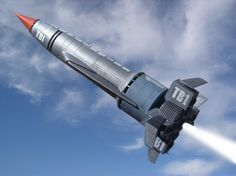 Thunderbird 1 - angling toward horizontal flight Space Crafts, Fun Crafts, Science Fiction, Thunderbird 1, Thunderbirds Are Go, Sci Fi Models, Classic Sci Fi, Sci Fi Tv, Old Tv Shows