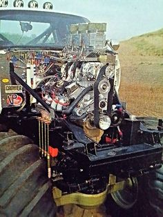 Blown Big Block with Predator carbs in old school monster truck.
