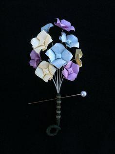 Lavender Pale Yellow & Pale Blue Origami by TinyCranesBoutique, $20.00 #tinycranesboutique #origamiwedding #boutonniere #boutonnière #uniqueboutonnière