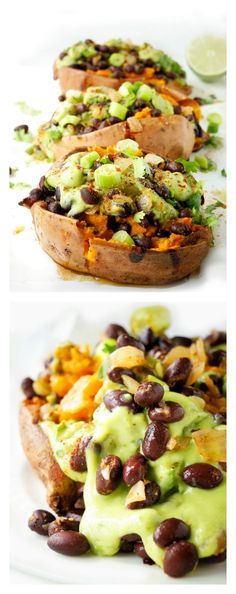 Looking for a super tasty meatless and gluten-free meal? These black bean stuffed sweet potatoes with an avocado creme are the ultimate heart-healthy make-ahead vegan meal. Perfect option for meal prep during those busy weeks! Vegetarian Sweet Potato Recipes, Heart Healthy Recipes, Vegan Recipes, Fall Recipes, Healthy Side Dishes, Side Dish Recipes, Healthy Dinners, Recipe Images, Black Beans