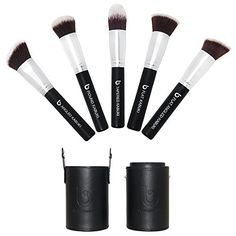 Kabuki Makeup Brush Set with BONUS Travel Brush Holder Includes Foundation Blush Bronzer Concealer  Mineral Brushes *** Want additional info? Click on the image.
