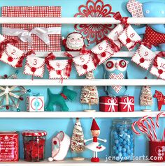 This is adorable no matter what, but we especially love that it's in Quilt Sandwich colors! Christmas-shelf from allsorts.typepad.com