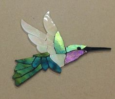 "Precut Stained Glass Art Male Hummingbird Mosaic Inlay Hand Crafted 6""x 4 5"" 