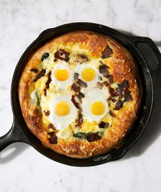 Breakfast Pizza   There's simply no reason crispy, cheesy pizza can't be enjoyed for breakfast, especially when it's topped with bacon and eggs. A cast-iron skillet replaces the need for a pizza stone thanks to its ability to get hot fast (and stay hot) a