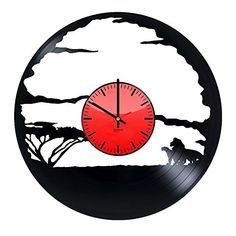 Lion Movie HANDMADE Vinyl Record Wall Clock  Get unique living room kids room wall decor  Gift ideas for boys and girls  African Lion Unique Modern Art Design *** Details can be found by clicking on the image. (This is an affiliate link) #WallClockforKids