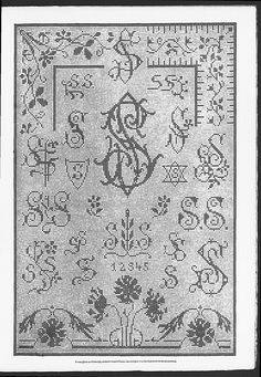 Cross stitch monograms, corners and borders, many in Art Nouveau style.   (visit site for bigger picture)  Gracieuse. Geïllustreerde Aglaja, 1911, aflevering 24, pagina 15