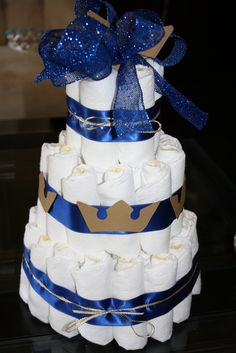 Diaper cake at a Royal Baby Shower #babyshower #diapercake
