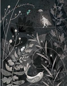 Fancy fairy, tightrope walking on delicate spider web with bug friends and birdie - Claire Mojher