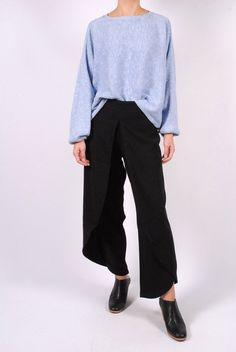 Rodebjer Dalia Cropped Sweater + Nala Crepe Trousers + Rachel Comey Mars Mules