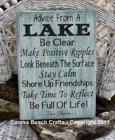 Signage Lake - Lake House Decor - Lake Sign - Advice From A Lake - Wood Wall Home Decor -Cottage Cabin Nature Gift - Hand Painted Rustic
