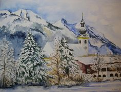 Watercolor Art, Creative, Diy, Painting, Watercolor Painting, Paintings, Winter Scenery, Merry Christmas Card, Landscape Art