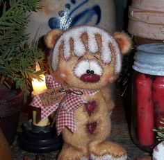 "Primitive Raggedy Christmas Gingerbread 6"" Teddy Bear Doll Vtg Patti's Ratties"