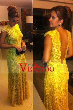 2015 Alto cuello de encaje vestidos de noche Columna con apliques