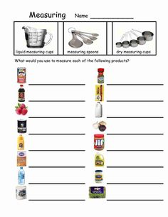 2 fun worksheets on using liquid measuring cups. | For the ...