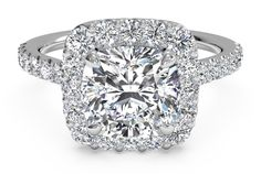French-Set Halo Diamond Band Engagement Ring - in 14kt White Gold (0.45 CTW) with a 1.02 Carat, Cushion Diamond