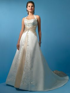Classical Halter A-Line IvorySemi-Sweetheart Neckline Satin Wedding Dress