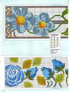 Sandrinha Ponto Cruz: Flores azuis