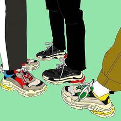 Cartoon Shoes, A Level Art Sketchbook, Sneakers Wallpaper, Hypebeast Wallpaper, Sneaker Art, Black Artwork, Drawing Reference Poses, Arte Pop, Dope Art